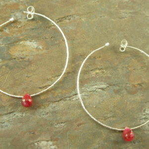 Ruby Will You Be Mine Sterling Hoop Earring-0