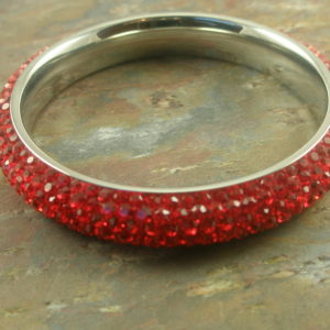 Red Lips Swarovski Crystal Bangle Bracelet-0