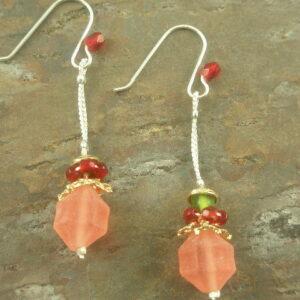 Pink Drops Resin Dangle Earrings-0