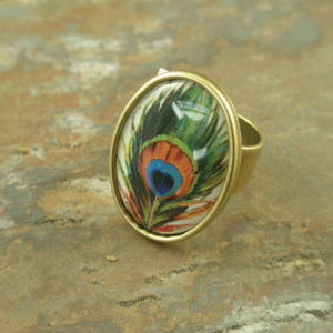 Pretty As A Peacock Adjustable Fashion Ring-0
