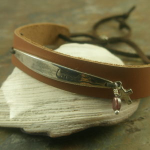 I Am Loved Handcrafted Leather/Sterling Adjustable Bracelet-0