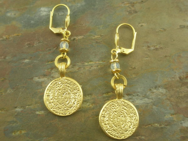 Gold Coin Fashion Dangle Earrings-0