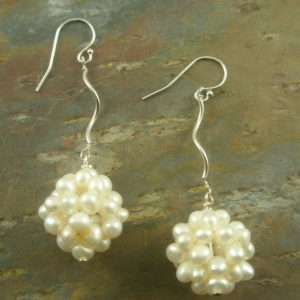 New Years Sterling And Pearl Dangle Earring-0