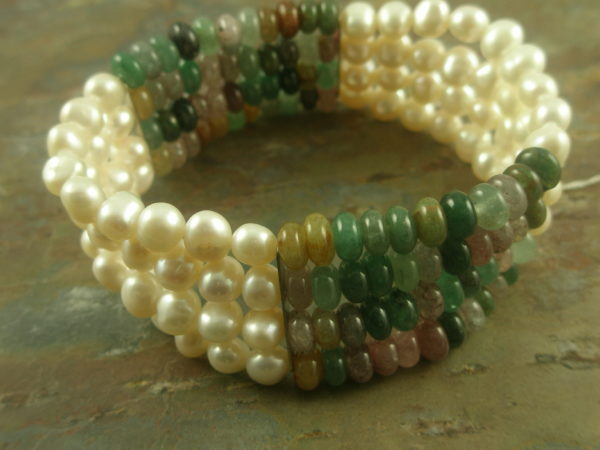 The Unexpected Pearl And Semi Precious Stretch Bracelet-0