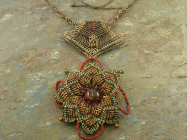 Double Budded Handcrafted Macrame Necklace-0