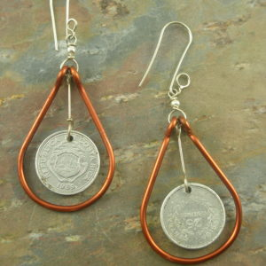 Copper And Coin Eclectic Earrings-0
