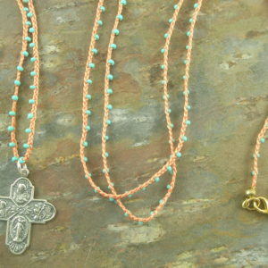 Sterling Cross On Woven Necklace-0