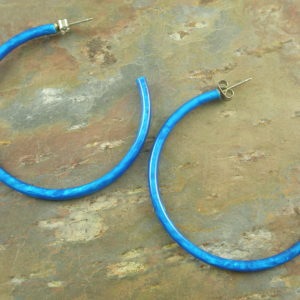 Blue Bird Resin Hoop Earrings-0