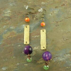 Brass Dangle EarringCrazy Purple -0