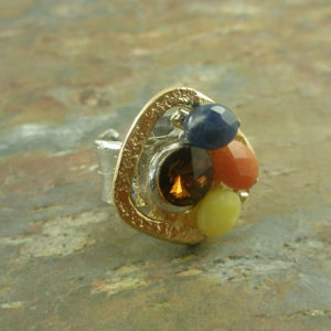 Adjustable Statement RingNugget Of Stones -0