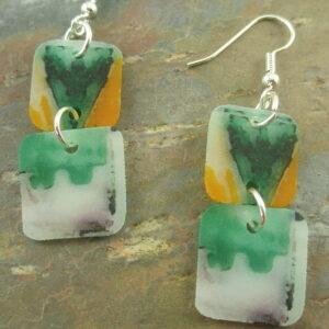 Handcrafted Acrylic EarringsDouble Greens -0