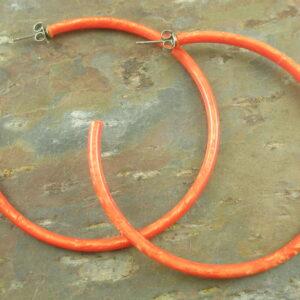 Big Resin Hoop EarringsOrange Pink -0