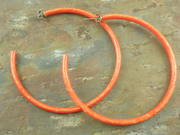 Big Resin Hoop EarringsOrange Pink -0