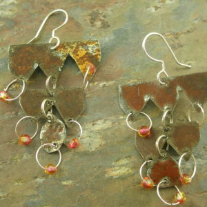 Copper Chandelier EarringsTriple Tier -0