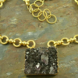 Amethyst Statement NecklaceGold Mine -0