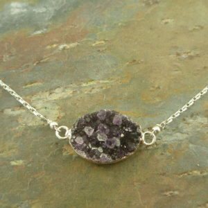 Druzy Stone NecklacePurple All In My Brain -0