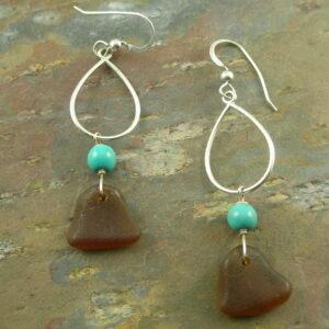 Sea Glass EarringsOcean Blue -0