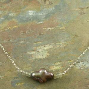 Pearl Cross NecklaceSideways -0