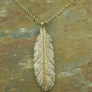 Two Tone Long NecklaceBoho Feather -0