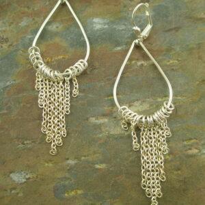 Sterling Silver Dangle EarringsChained-0