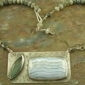 Original Designed Stone And Sterling NecklaceGrey Skies-0