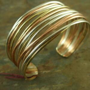 Tri Toned Sterling Silver Cuff BraceletPeek!-0