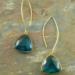 Golden And Quartz Dangle EarringOf Quartz-0