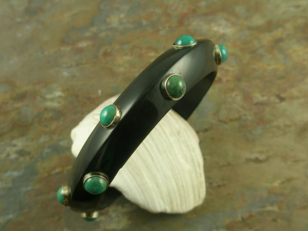 Handcrafted Resin And Turquoise Bangle BraceletBlack And Blue -0