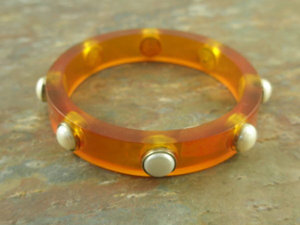 Resin And Pearl Bangle BraceletSquare Up-0