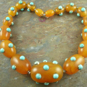 Chunky Resin/Turquoise One Of A Kind NecklaceBad To The Bone-0