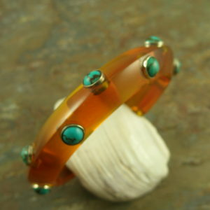 Handcrafted Resin And Stone Bangle BraceletOld Turq-0