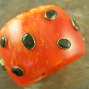 Chunky Resin Garnet Bangle BraceletBad To The Bone-0