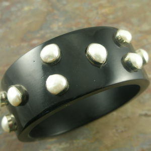 Resin And Pearl Bangle BraceletPiano Keys-0