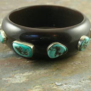 Chunky Resin And Turquoise Bangle BraceletSo SW-0