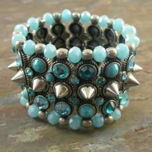 Handcrafted Stretch Crystal Statement BraceletSpiked-0