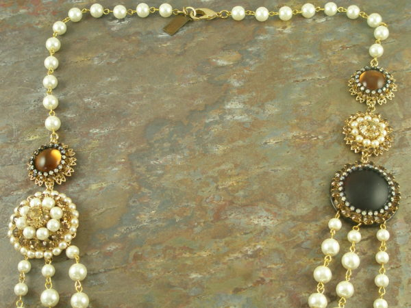 Handcrafted Long Pearl And Crystal NecklaceNot Your Grandma's-0