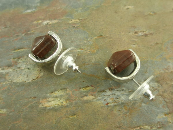 Handcrafted Resin Stud EarringsAlmost Ruby-0