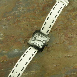 Top Stitched Leather Band WatchSquared Away-0