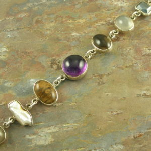 Cabochon Semi Precious Stone Sterling Link BraceletHealthy Mix-0