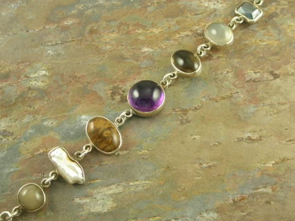 Cabochon Semi Precious Stone Sterling Link BraceletHealthy Mix-0