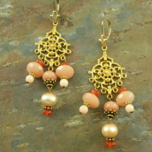 Gold Toned Stone Chandelier EarringsPeachy-0