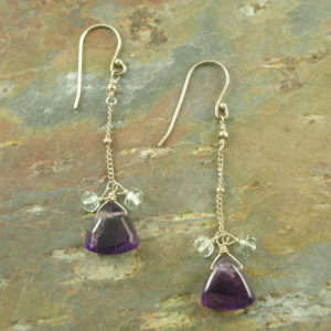Sterling Silver Amethyst Long EarringsDangle Do-0