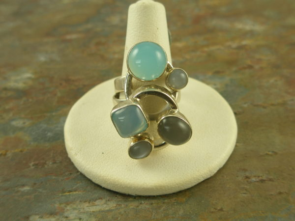 Chalcedony Multi Stone Contemporary Handcrafted RingBaby Blues-0