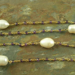 Handcrafted Amethyst And Pearl Long NecklaceBe Mine-0