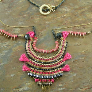 Handcrafted Double Stranded Beaded Tribal Fashion NecklaceTribal Mama-0