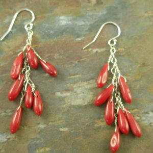 Sterling Silver And Coral Dangle EarringsLipstick-0