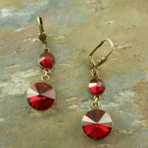 Red Swarovski Crystal Dangle EarringRuby Ruby-0