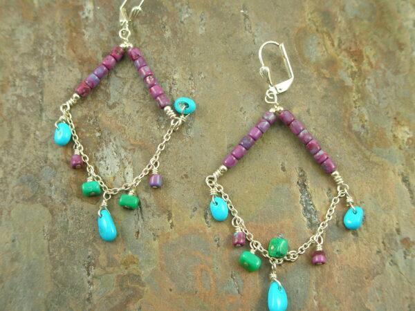 Native American Crafted Stone Chandelier EarringsSwingin'-0