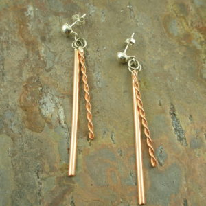 Contemporary Handcrafted Copper Dangle EarringSeeing Double-0