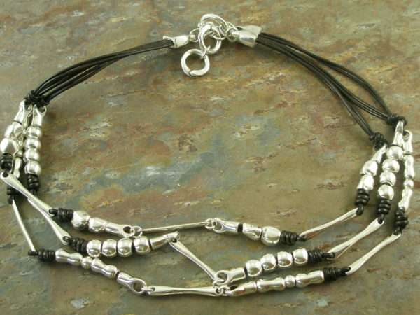 Eclectic Triple Strand Leather And Silver Necklace2+1-0
